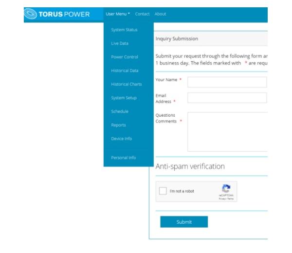 Website dashboard menu